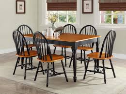 simple 7 pc dining room sets table chairs wood farmhouse windsor country set black oak