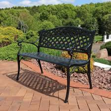 sunnydaze outdoor patio bench black