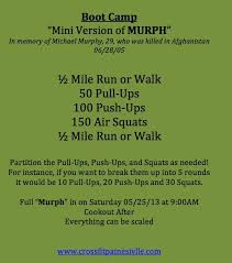 For those of you that don't know what this is. Pin By Charlene Sintic On Boot Camp Murph Workout Wod Workout Crossfit Workouts