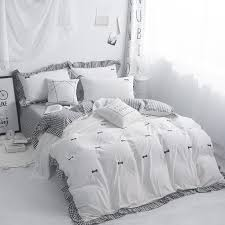 embroidery grey pink white 100 cotton bedding set kids girls twin queen king size duvet cover bed sheet set quilt bedding sets duvet comforter cover full
