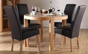 black round dining table and chairs wood round dining table for four black leather black gloss