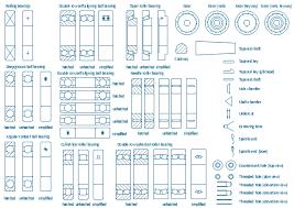 ball bearings diagram. bearing symbols, undercut, shaft, variable fillet radius, thrust ball bearing, through bearings diagram g