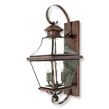 quoizel carleton 3 light wall mounted outdoor fixture in aged copper