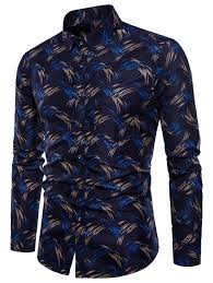 Patterned Button Up Shirts New Deep Blue M Allover Printed Button Up Shirt RoseGal