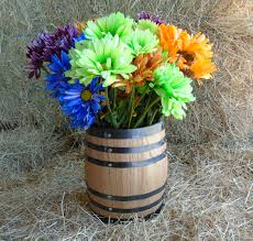 oak barrel centerpiece flower vase