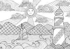 大人の塗り絵の海ライン アート デザイン
