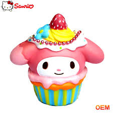 Oem Kustom Busa Pu Hello Kitty Cup Cake Mainan Makanan Palsu Lembut