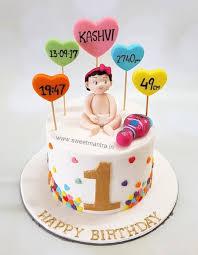 1st Birthday Theme Customized Designer Fondant Cake With 3d Baby