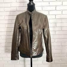 american base new york brown leather jacket size medium