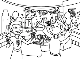 The one pictured above shows a banner with happy new year surrounded by party blowers, balloons, stars and festive bubbles. Free Happy New Year Colouring Pages For Kids