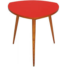 side table in red formica with tripod legs in oakwood 1960s