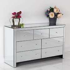Mirrored Glass Bedroom Furniture Mirrored Chest Of Drawers Mirrors And Wall Decor Mirrored