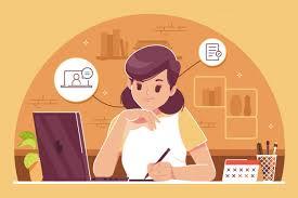 Estudiar desde casa ilustración de fondo | Vector Premium