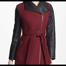 details about guess belted wool blend coat faux leather sleeves sz m