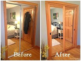 mirrored closet door makeover i covered the existing doors with frosted glass from home depot