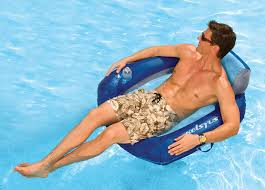 swimways 80035 kelsyus floating inflatable pool chair integrated cup holder carry bag color in blue
