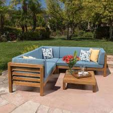 oana teak finish 4 piece wood outdoor sectional