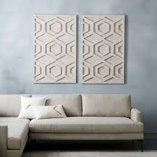 on whitewashed wood wall art with graphic wood wall art whitewashed hexagon west elm