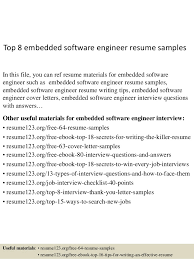 Software Developer Resume Samples Top 8 Embedded Software Engineer Resume Samples
