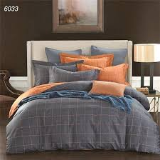 plaids bedding sets blue grey orange duvet cover sheet pillowcases pure cotton bed linens brief new bedding set king queen size blue
