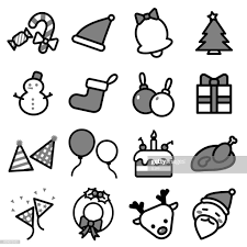 Collection Set Of Simple Line Isolated Christmas Icons On White