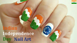 Indian Independence Day Flag Nail Art With Tutorial Video