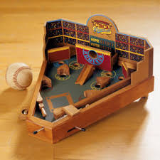 Wooden Baseball Game Toy Kids Classic Toys Kids Wooden Baseball Theme Pinball Game Mini 4