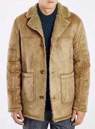 topman camel faux shearling jacket