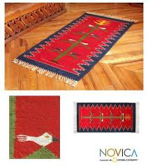 fair trade red wool bird rug from mexico 3x5 tree of life