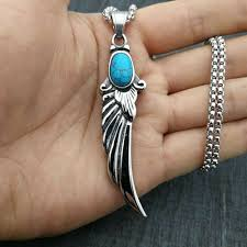 never fade punk silver feather turquoise pendant necklace men s jewelry gifts