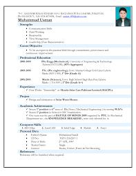 Resume Format For Mechanical Engineering Freshers It Resume Best Cv Format  For Freshers Mechanical Engineers