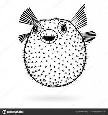 скалозуба рыба фугу силуэт резкое значок векторные иллюстрации тату