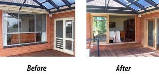 before and after installation of timber stacker doors in melbourne