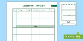 Weekly Timetable Planner Teacher Planner Classroom Timetable Overview Teacher