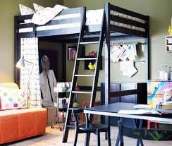 black metal ikea loft bed with colorful polkadot cover bed also wall mount bookshelves also tan fabric couch beside study desk