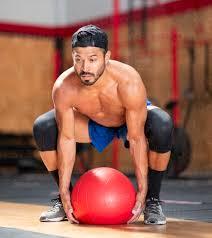 focused bearded ethnic male athlete