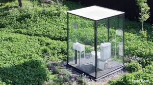 See Through Glass Public Restroom In Japanese Garden Comprised Of See Through Glass