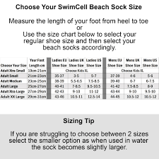 Slip On Size Chart Swimcell Swimming Socks With Full Length Rubber Sole