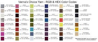 Vannas Choice Yarn Rgb And Hex Codes Web Hex Codes Hex