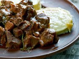 Gulasch Aus Rinderherz Mit Gebratenen Zucchini. Ungarische Küche  Standard Bild   60927765