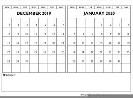 Blank Dec 2020 Calendar December 2019 January 2020 Calendar Editable December