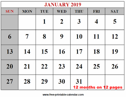 Year 2019 Calendar Templates Free Printable Calendar Com