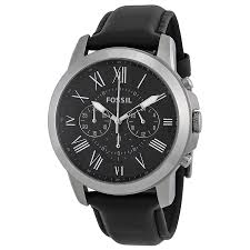 fossil grant black dial black leather mens watch fs4812 zoom fossil fossil grant black dial black leather mens watch fs4812