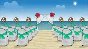 chairs and a canopy set up for a beach wedding background