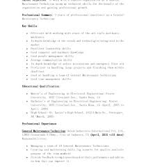 Resume Electrical Technician Resume Sample