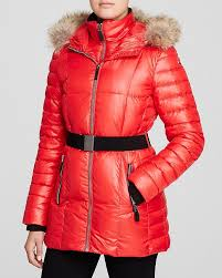 coats andrew marc marc new york allison belted fur trim puffer coat