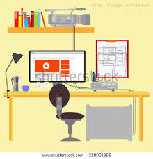 items home office. Home Office Vector Illustration On Yellow Background. Cute Cartoon Items. Blogger Work Place. Items