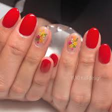 Red And Yellow Nail Designs Red Pink Yellow Orange Green Floral In 2019 Red Gel Nails