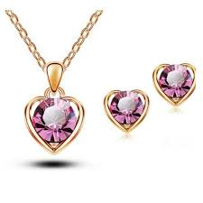 swarovski heart necklace earring set