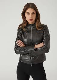 supreme nappa leather biker jacket with zip and ons woman emporio armani